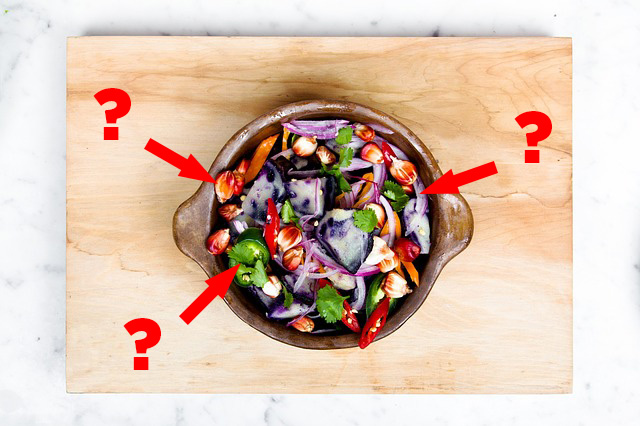 This image shows a salad prepared for a food allergic friend. But is it safe?