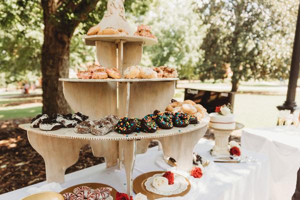 zero waste wedding donut stack